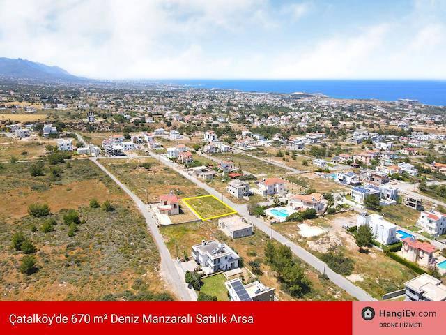 Girne Çatalköy'de 670 m² Deniz Manzaralı Satılık Arsa