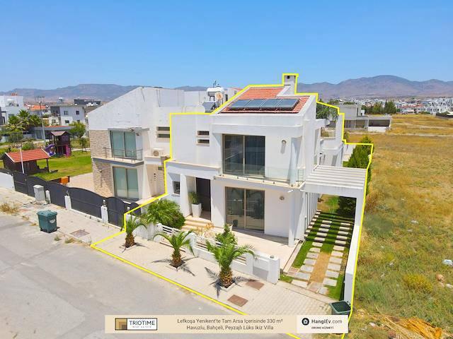 Lefkoşa Yenikent'te Tam Arsa Içerisinde 330 m² Havuzlu, Bahçeli, Peyzajlı Lüks Ikiz Villa 225.000 Stg
